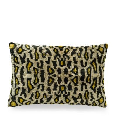ikat kussen fluweel luipaard print