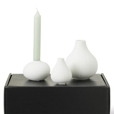 cadeaupakket set van 2 vaasjes, kandelaar en kaarsen