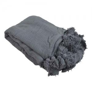 Deken met pompons dark grey