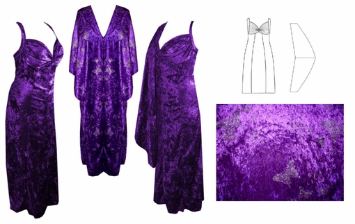 Dress with wrap, sketch, and swatch