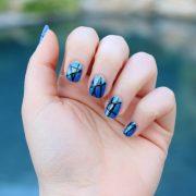 metallic blue & black nails - living