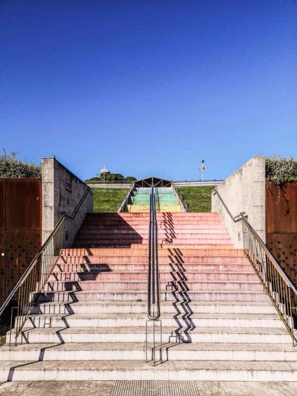Las escaleras contra la violencia de genero in Cimadevilla, the Old Town of Gijón.