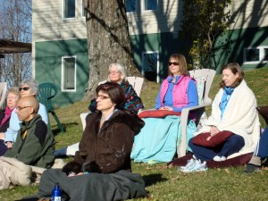 meditating outside at Spirit Fire