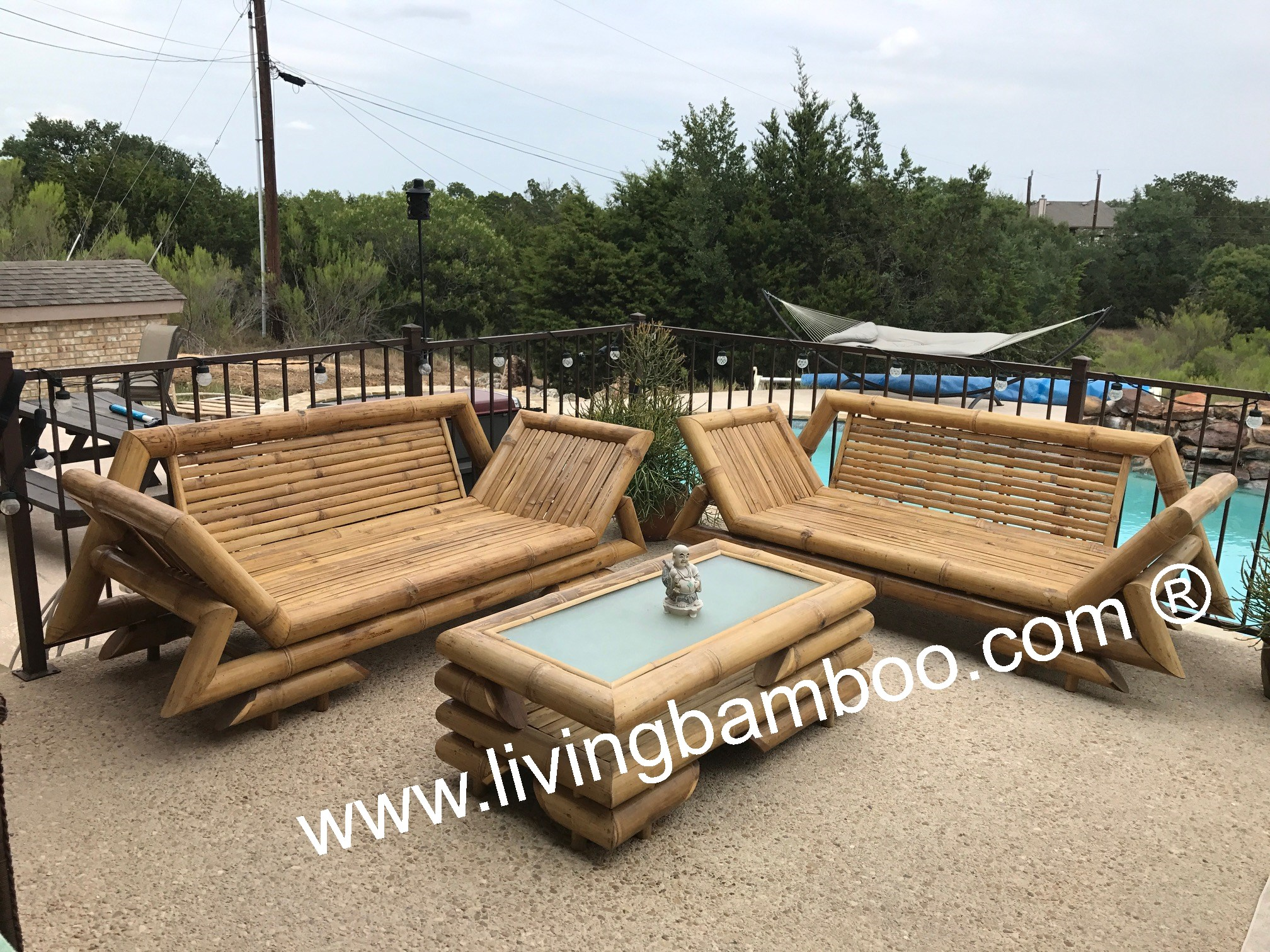 bamboo outdoor chairs ergonomic chair how to adjust lotus living set for