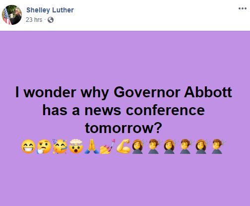 Shelly thinks to open the rest of Texas is all about her.