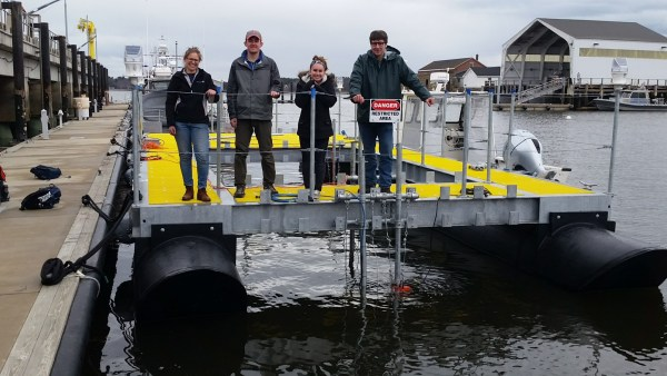 Some of the researchers during the deployment of the turbine platform