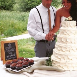 Hand illustrated signs for wedding cake table