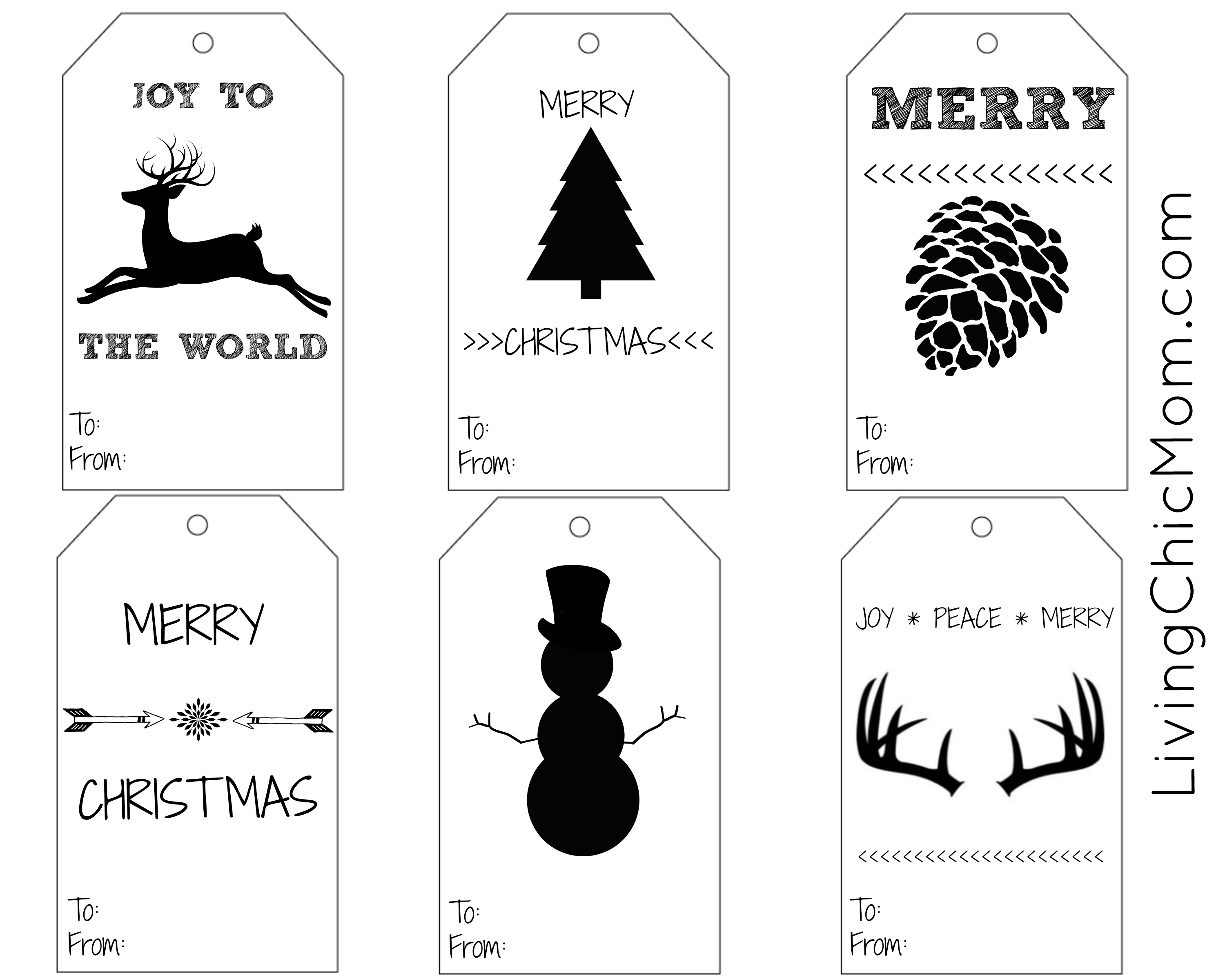 picture relating to Printable Christmas Tags Black and White known as Do-it-yourself Shabby Stylish Holiday vacation Reward Tags (printable) - Dwelling Stylish Mother