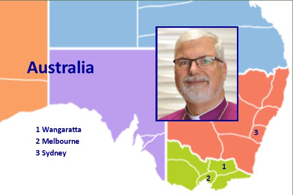 John Parkes, Bishop of Wangaratta | Photo: Diocese of Wangaratta | Map: Wikipedia bit.ly/2Z2syvf