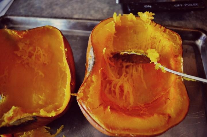 scoop cooked pumpkin