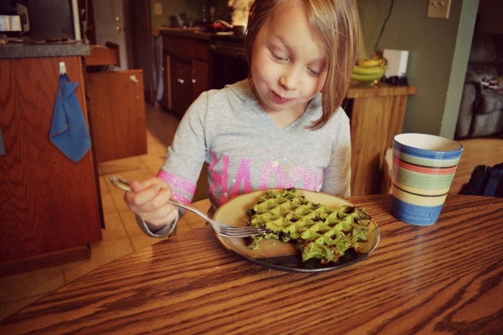 Loves her Hulk Waffles