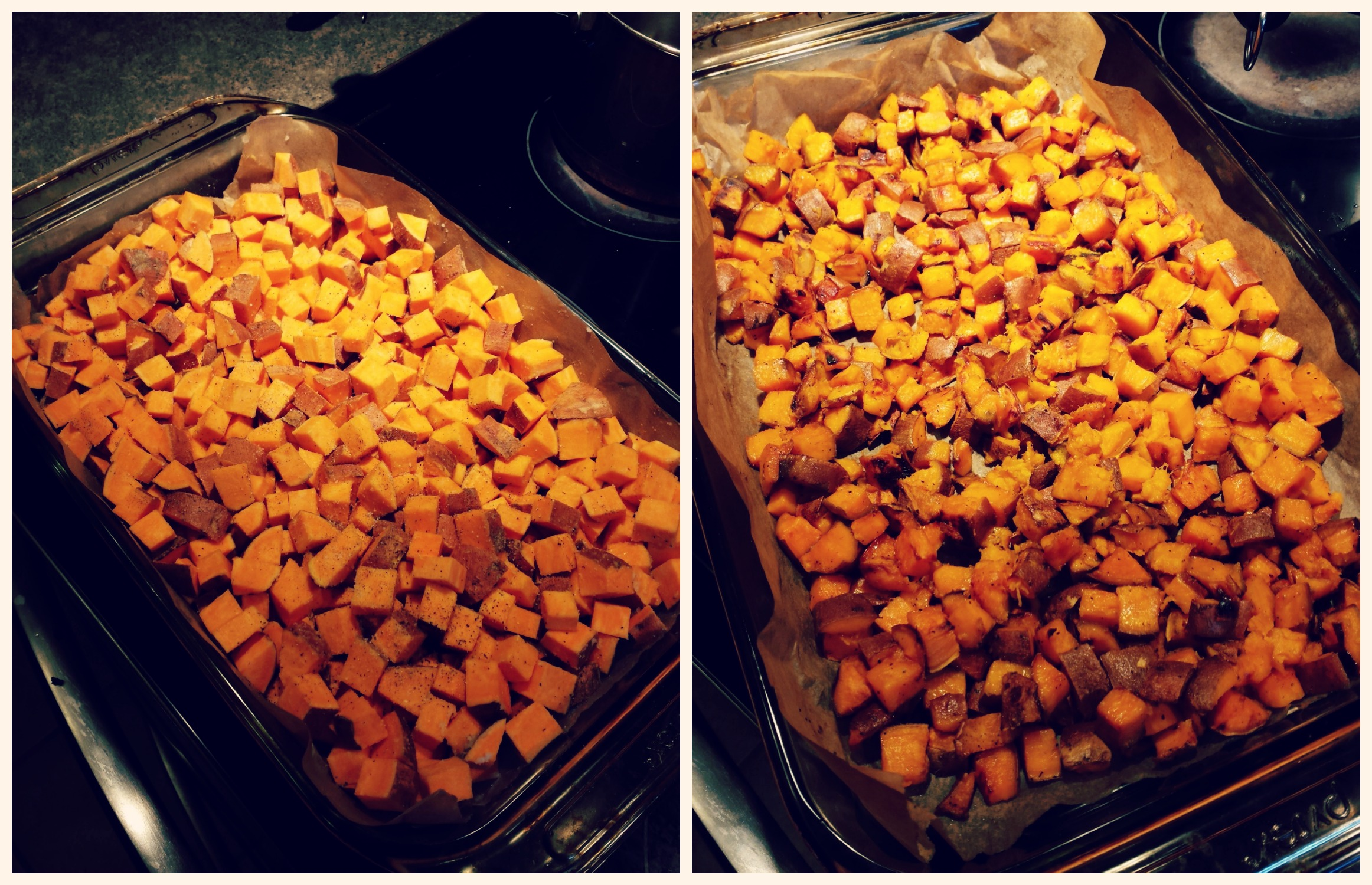 sweet potatoes before and after