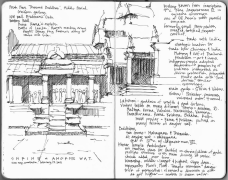 Shrine at Angkor Wat - sketch by Naomi Leeman