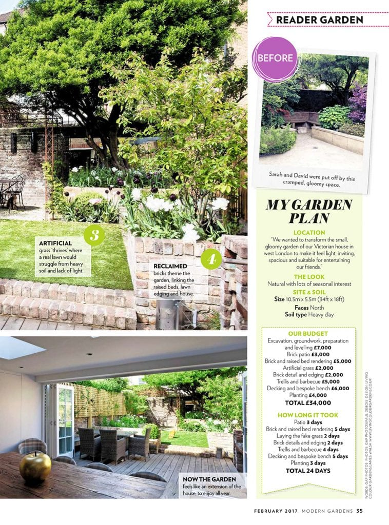 Article of our garden in Modern Gardens Magazine  Living