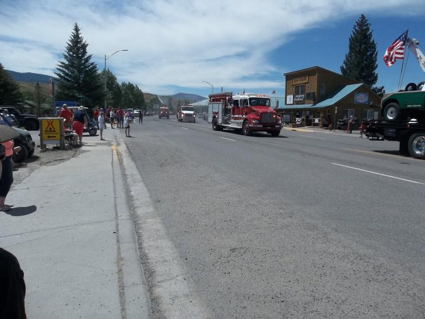 Fire trucks Dubois WY July 4