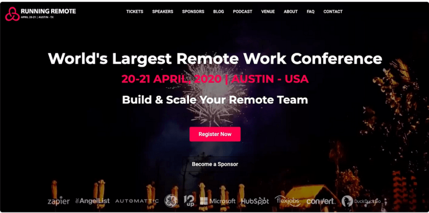 Ad for Running Remote conference 2020 Austin Texas
