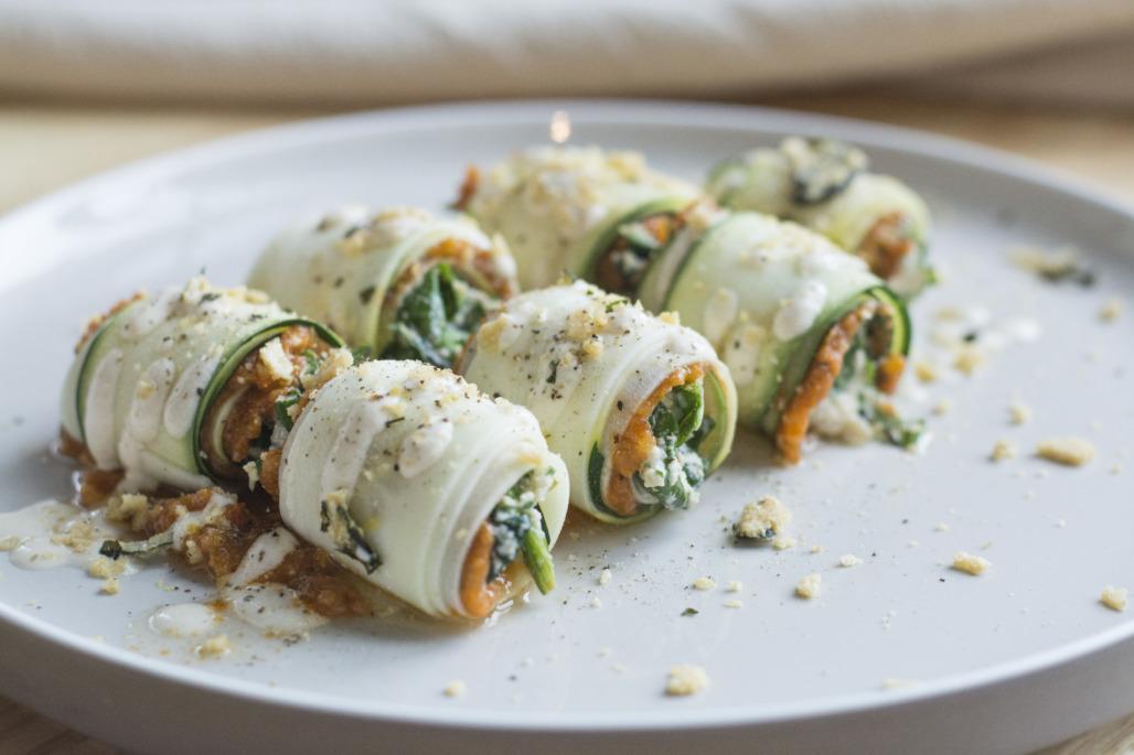 Cannelloni (Zucchini Sheets Filled with Tomato & Herb Pesto, Spinach Ricotta, Cashew Cheese, Rawmesan)