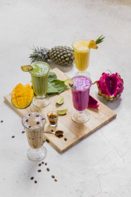 Cacao Wow Shake, Green Detox, Pink Dragon and Bali Colada