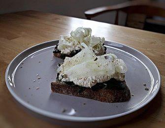 Hummus Toast (Smoked Hummus, Cucumber, Massaged Kale, Bali Dukkah)