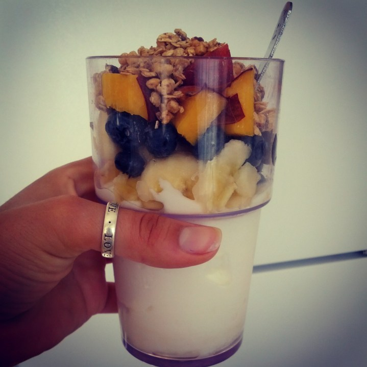 Morning Protein Parfait: 1-2 cups vanilla Greek yogurt, 1-2 cups fruit of your choice, 1/4 cup Protein granola