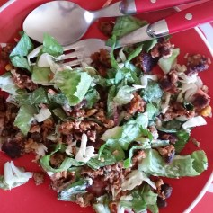 Black Bean Burger Salad: 1-2 veggie burgers chopped, 2-3 cups spinach/lettuce/cabbage, 2 tbsp dressing of choice, any veggie toppings of choice. Tip: Use Cilantro Avocado Ranch yogurt dressing!