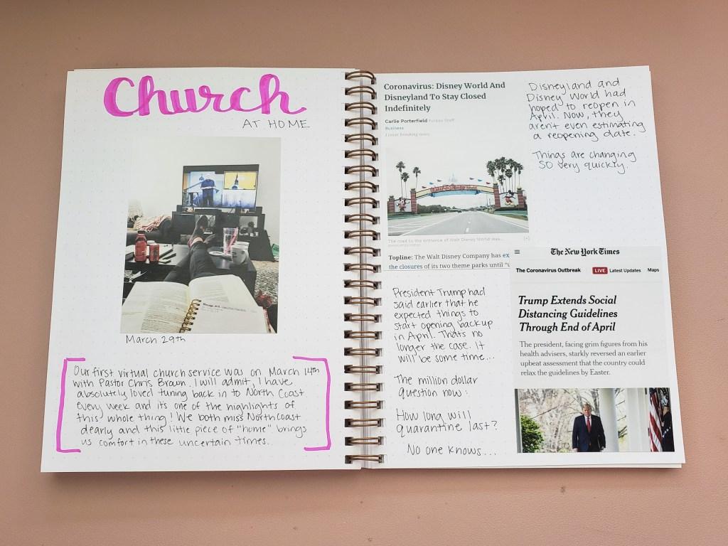 Coronavirus Journal Church at home