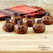 Paleo Halloween Almond Butter Pumpkin Truffle Heads
