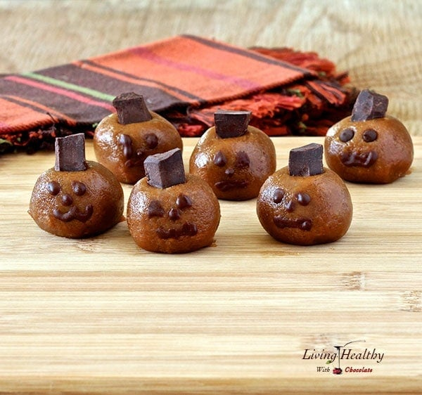 Paleo Halloween Almond Butter Pumpkin Truffle Heads
