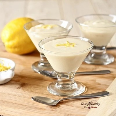 Healthy Frozen White Chocolate Lemon Mousse (gluten-free, dairy-free, sugar-free, Paleo). Recipe by #LivingHealthyWithChocolate