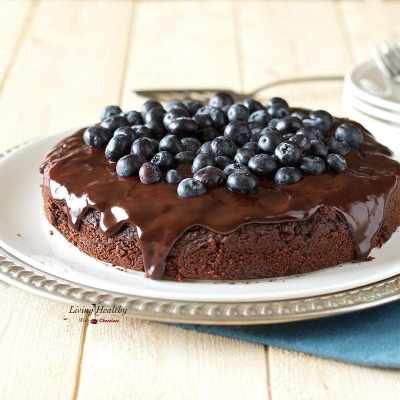 Blueberry Chocolate Cake (gluten-free, dairy-free, Paleo) by #LivigHealthyWithChocolate. This cake is super moist, soft, and fudgy!