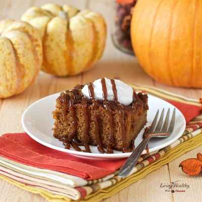 I made this and it's delicious! Moist Caramel Pumpkin Cake topped with homemade caramel sauce (Paleo, Vegan, gluten-free, grain-free, dairy-free, and refined sugar-free) by #LivingHealthyWithChocolate