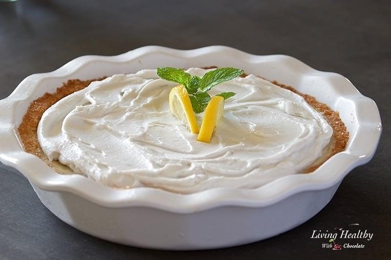Paleo Lemon Cream Pie (gluten-free, grain-free, egg-free, dairy-free) by #LivingHealthyWithChocolate