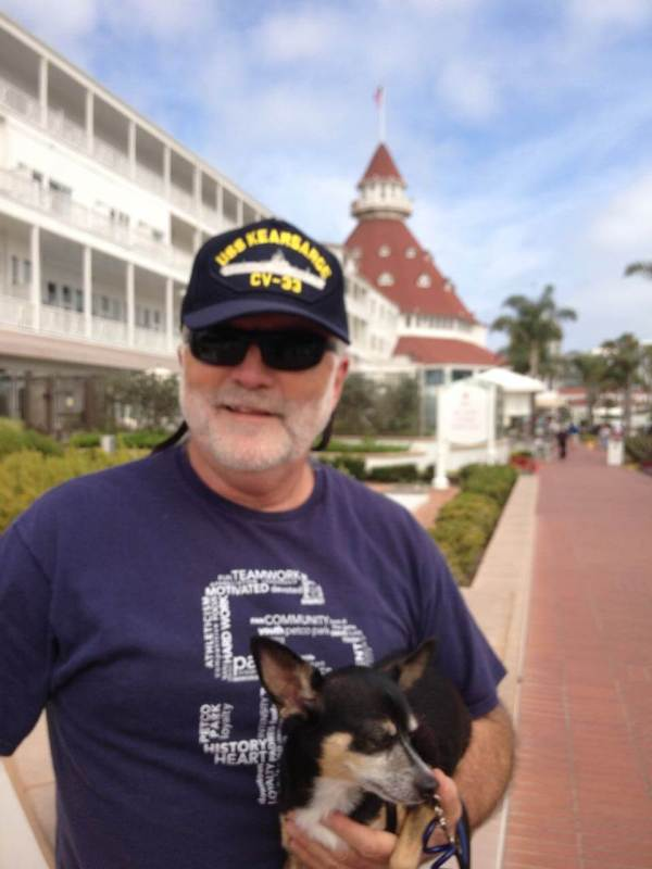 Jim and Pico at the Hotel Del. Jim wears his USS Kearsarge hat in honor of his Dad.