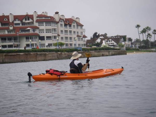 Jim paddles home on the bay side of Coronado