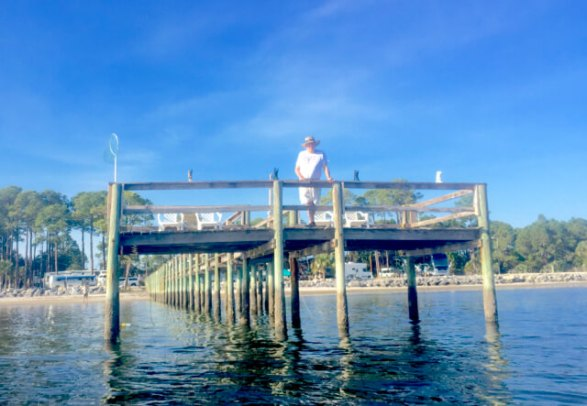 Carmen's dad on the Ho Hum RV Park pier in Carrabelle, FL
