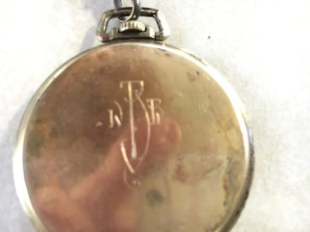 """WBB""...Jim's Dad's initials on his pocket watch"