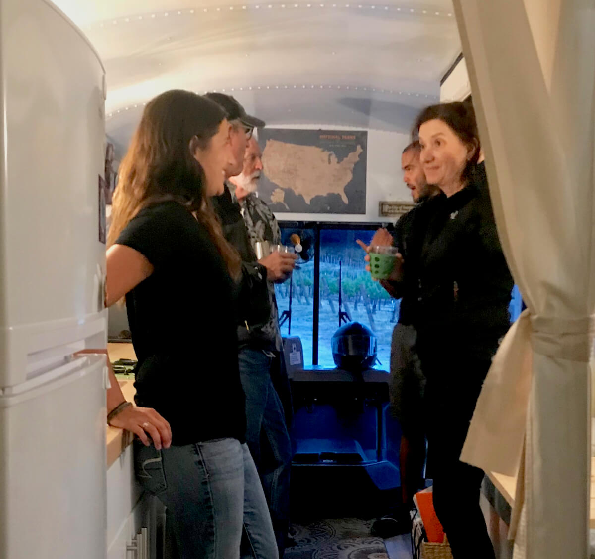Inside Mike and Erin's bus