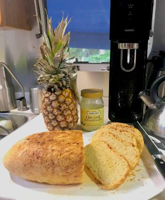 Mmmm! Fresh pineapple and homemade bread for moving day munchie time!
