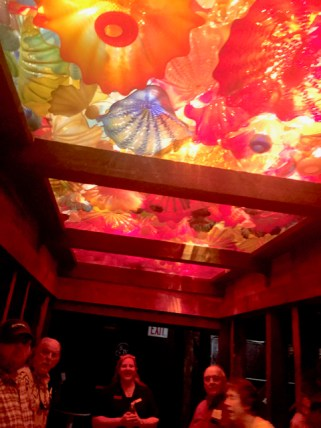 (A ceiling at the Marker's mark Distillery made out of colored glass....beautiful!)