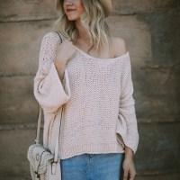 White Pullover Sweater & Denim Skirt + Link-up