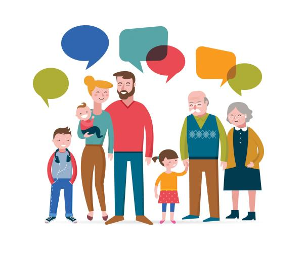 cartoon image of a family two seniors, two adults, two kids, one baby with conversation bubbles