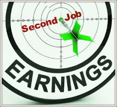 "Image of a target with a green dart on the bull's eye that says Second Job. The word ""earnings"" across the bottom. Use earning from a second job for your downpayment for you house."