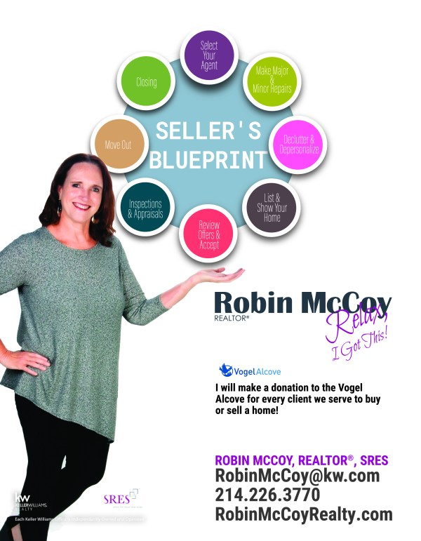Image of Robin McCoy and circles with 8 steps to selling your home