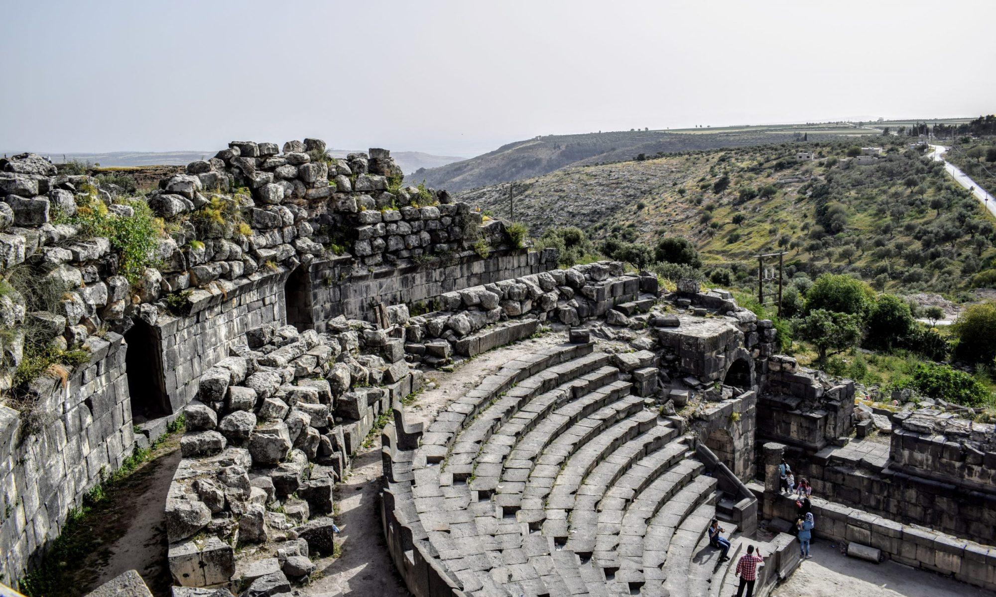 Roman theater made of black basalt stone at Umm Qais