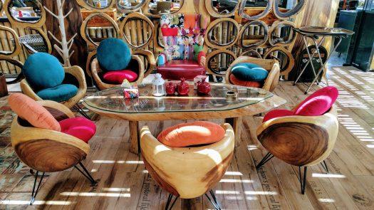 wooden furniture at TalRuman Restaurant