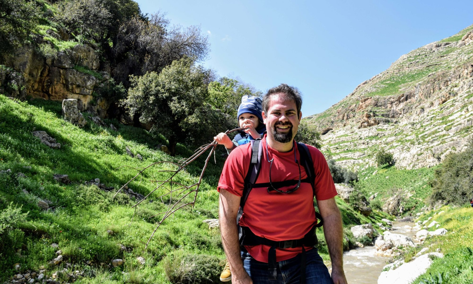 Hiking with kids along a valley in Northern Jordan
