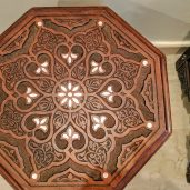 Top view of Syrian middle eastern Mosaic Rajai Table locally made by the Jordanian artist Essah Ahmed Farah
