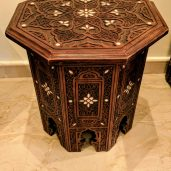 A side view of a Moasaic Rajai Table representing Syrian style made by the Jordanian artist Essah Ahmed Farah
