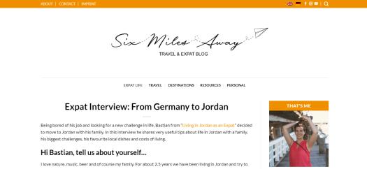 Screenshot Six Miles Away Blog