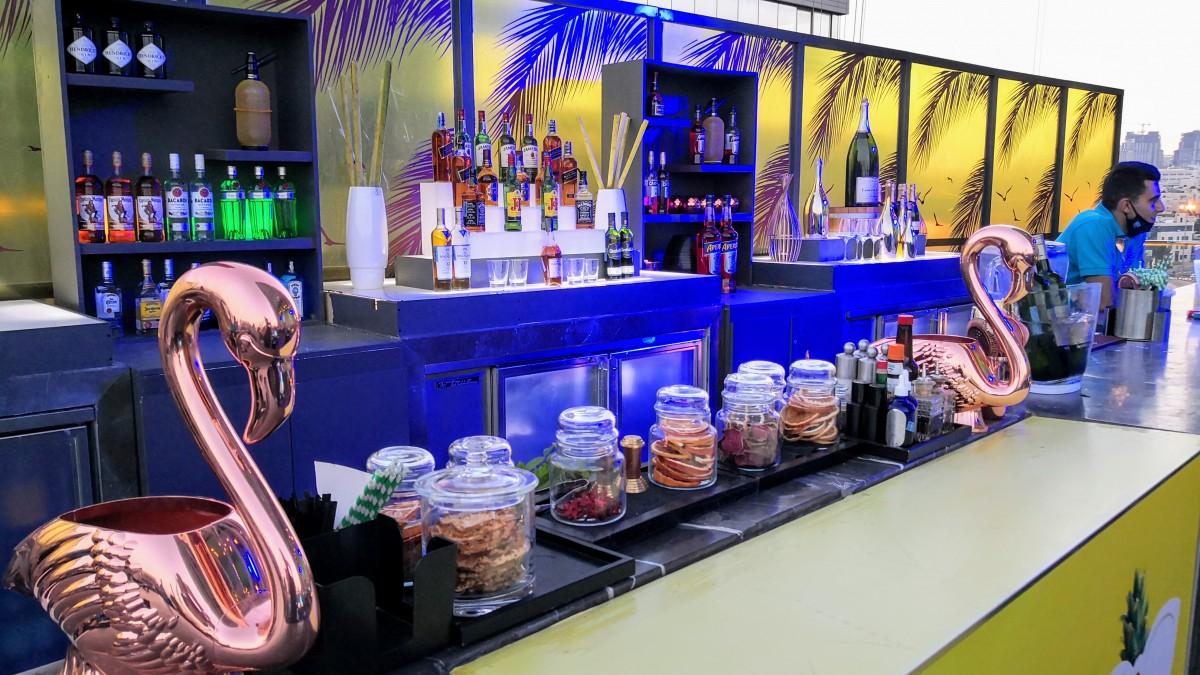 Bar Counter at The Deck Lounge Rooftop Rotana Hotel Amman